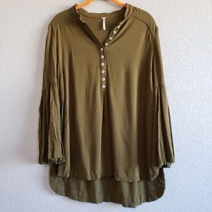 Free People | Olive Army Green Button Down Blouse